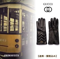 GUCCI GG Marmont Plain Leather Leather & Faux Leather Gloves