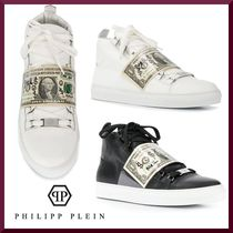 PHILIPP PLEIN Blended Fabrics Leather Sneakers