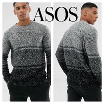 ASOS Crew Neck Cable Knit Pullovers Stripes Street Style Bi-color