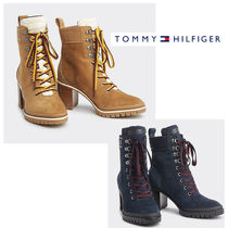 Tommy Hilfiger Rubber Sole Lace-up Casual Style Suede Street Style Plain
