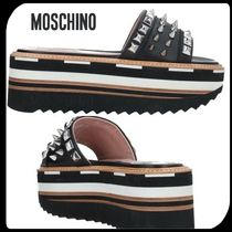 Moschino Open Toe Platform Rubber Sole Studded Leather