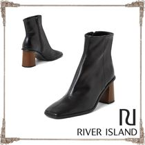 River Island Square Toe Plain Leather Block Heels High Heel Boots
