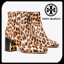 Tory Burch GIGI Leopard Patterns Casual Style Leather Block Heels