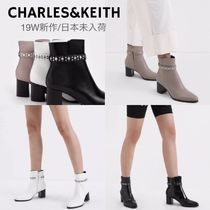 Charles&Keith Casual Style Studded Plain Leather Block Heels Elegant Style