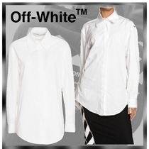 Off-White Casual Style Long Sleeves Plain Cotton Shirts & Blouses