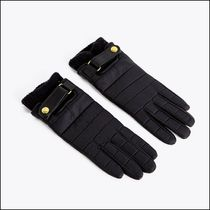 Uterque Wool Cashmere Plain Leather Leather & Faux Leather Gloves