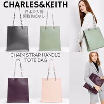 Charles&Keith Casual Style Faux Fur A4 2WAY Plain Office Style Totes
