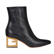 GIVENCHY Plain Leather Block Heels Chunky Heels Ankle & Booties Boots