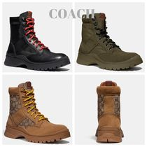 Coach Monogram Plain Toe Mountain Boots Street Style Plain Leather