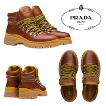 PRADA Rubber Sole Casual Style Leather Logo Ankle & Booties Boots