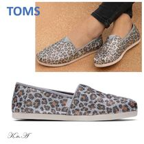 TOMS Leopard Patterns Platform Casual Style Street Style Fringes