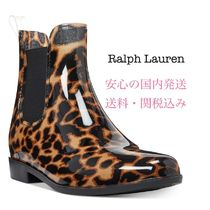 Ralph Lauren Leopard Patterns Rubber Sole PVC Clothing Flat Boots