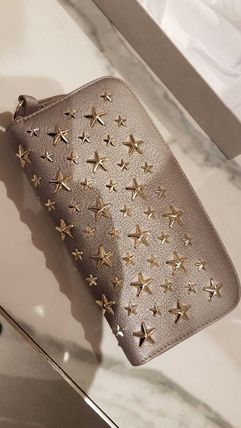 Star Studded Leather Khaki Long Wallet  Long Wallets