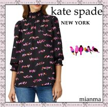 kate spade new york Chiffon Puffed Sleeves Long Sleeves Other Animal Patterns