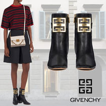 GIVENCHY Plain Leather Block Heels Ankle & Booties Boots