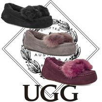UGG Australia Moccasin Casual Style Sheepskin Suede Plain Flats