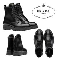 PRADA Rubber Sole Casual Style Plain Leather Logo