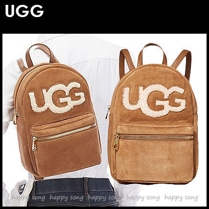 Casual Style Suede Street Style Plain Backpacks