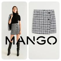 MANGO Other Check Patterns Tweed Skirts