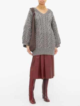 Cable Knit Casual Style Wool V-Neck Plain Medium