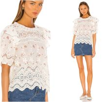 LoveShackFancy Flower Patterns Casual Style Cotton Medium Short Sleeves