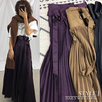 Flared Skirts Casual Style Pleated Skirts Plain Medium Long