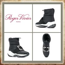 Roger Vivier Round Toe Rubber Sole Casual Style Plain With Jewels