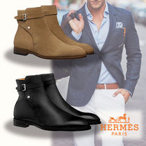 HERMES Plain Leather Boots