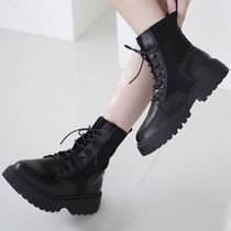 Platform Round Toe Lace-up Casual Style Faux Fur