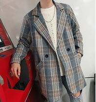 Short Other Check Patterns Street Style Blazers Jackets