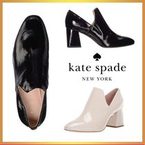 kate spade new york Enamel Plain Leather Block Heels Ankle & Booties Boots