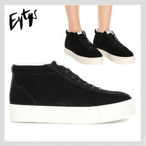 Eytys Round Toe Rubber Sole Suede Plain Leather Low-Top Sneakers