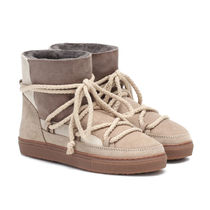 INUIKII Platform Lace-up Casual Style Unisex Sheepskin Suede Fur