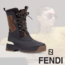FENDI Mountain Boots Round Toe Rubber Sole Lace-up Casual Style