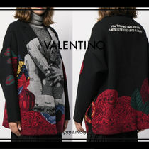 VALENTINO Flower Patterns Casual Style Wool Cashmere Long Sleeves Long