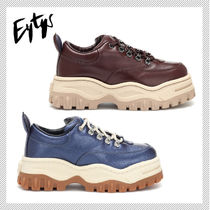 Eytys Round Toe Rubber Sole Lace-up Plain Low-Top Sneakers