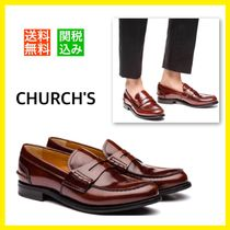 Church's Pembrey Round Toe Rubber Sole Casual Style Unisex Plain Leather