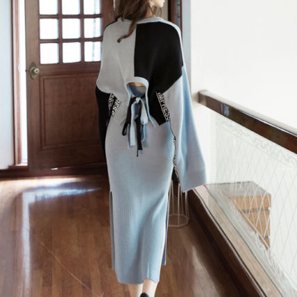 Crew Neck Casual Style Bi-color Long Sleeves Long Dresses