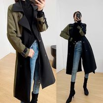 Casual Style Plain Long Midi Office Style Khaki Trench Coats