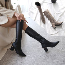 Casual Style Faux Fur Plain Chunky Heels Mid Heel Boots