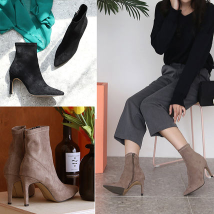 Casual Style Suede Plain Pin Heels Ankle & Booties Boots