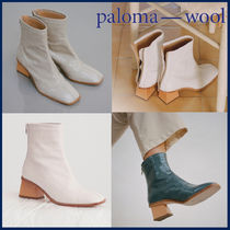 Paloma Wool Square Toe Casual Style Plain Leather Block Heels