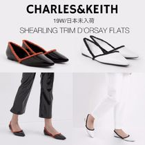Charles&Keith Casual Style Faux Fur Plain Elegant Style Pointed Toe Shoes