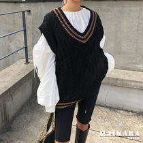 Casual Style Plain Medium Oversized Vests
