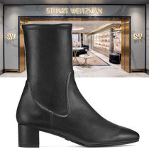Stuart Weitzman Plain Toe Sheepskin Plain Block Heels Ankle & Booties Boots