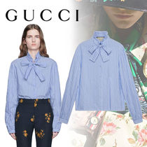 GUCCI Stripes Casual Style Street Style Bi-color Long Sleeves