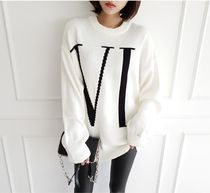 gumzzi Crew Neck Cable Knit Casual Style Street Style Long Sleeves