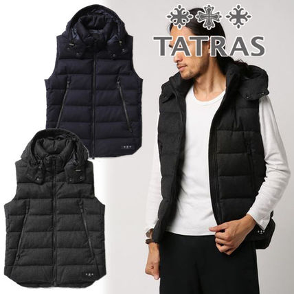 Wool Blended Fabrics Street Style Plain Logo Down Jackets