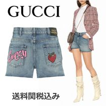 GUCCI Short Casual Style Wool Denim Blended Fabrics Plain Leather