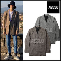 ASCLO Other Check Patterns Street Style Blazers Jackets